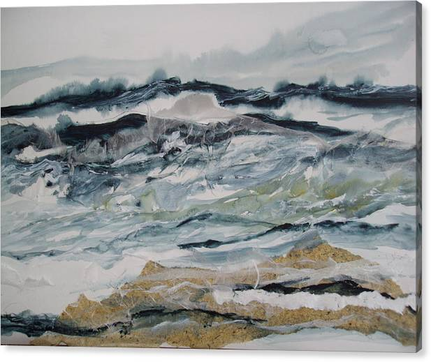 Seascape Canvas Print featuring the painting Surf Song by Linda King