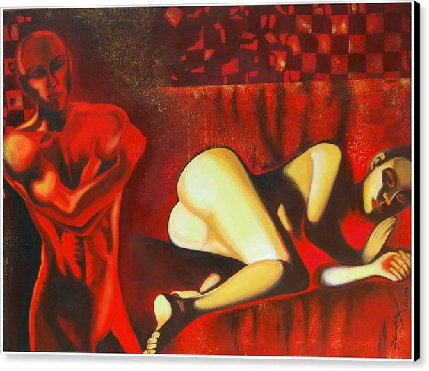 Figurative Canvas Print featuring the painting My Dilemma by Padmakar Kappagantula