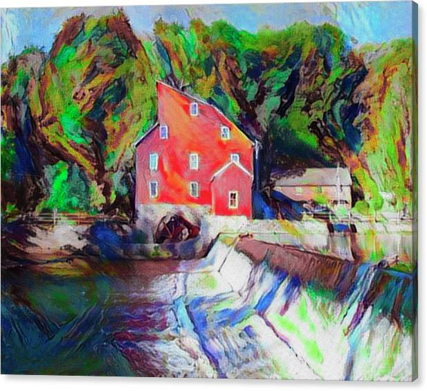 Clinton New Jersey -The Red Mill  on the Raritan River  Watercol by Bill Cannon