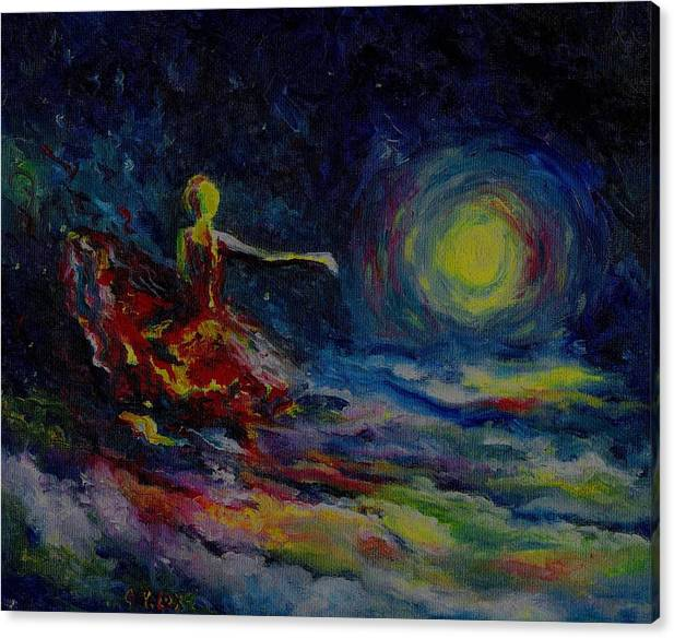 Skyscape Canvas Print featuring the painting Dancing With The Moon by Stephanie Cox