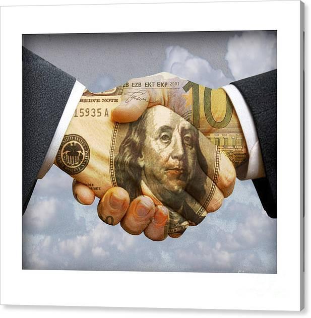 Dollar Canvas Print featuring the digital art Handshake by Chris Van Es