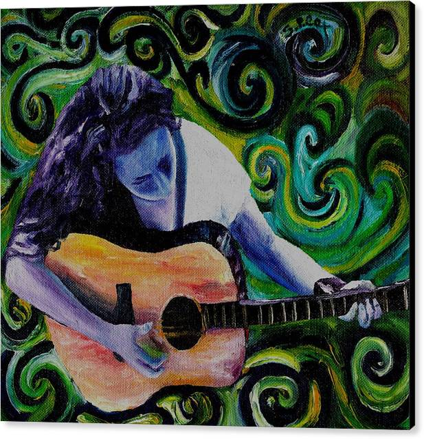 Decorative Surreal Music Canvas Print featuring the painting Guitar Heroine by Stephanie Cox