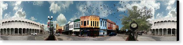 Bryan Canvas Print featuring the photograph Downtown Bryan Texas Panorama 5 To 1 by Nikki Marie Smith