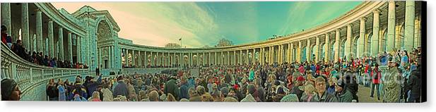 Memorial Amphitheater At Arlington National Cemetery Canvas Print featuring the photograph Memorial Amphitheater At Arlington National Cemetery by Tom Gari Gallery-Three-Photography