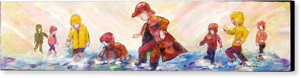 Mothers And Children Bonding Canvas Print featuring the mixed media Puddle Jumpers by Naomi Gerrard