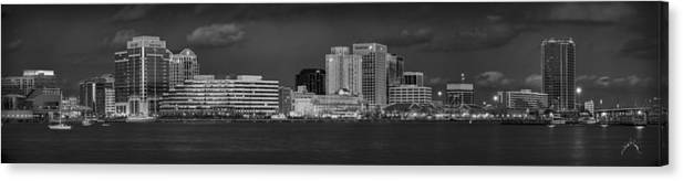 Norfolk Canvas Print featuring the photograph Norfolk Waterfront Bw by Williams-Cairns Photography LLC