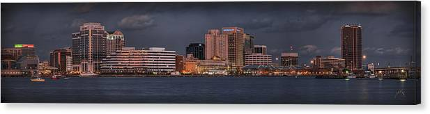 Norfolk Canvas Print featuring the photograph Norfolk Waterfront Color by Williams-Cairns Photography LLC
