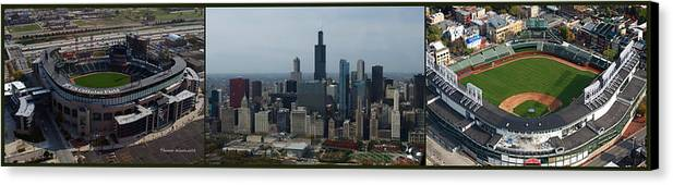 Chicago Sports Canvas Print featuring the photograph Us Cellular And Wrigley Field Chicago Baseball Parks 3 Panel Composite 02 by Thomas Woolworth