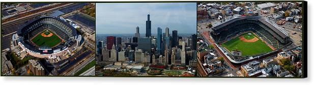 White Sox Canvas Print featuring the photograph Wrigley And Us Cellular Fields Chicago Baseball Parks 3 Panel Composite 01 by Thomas Woolworth