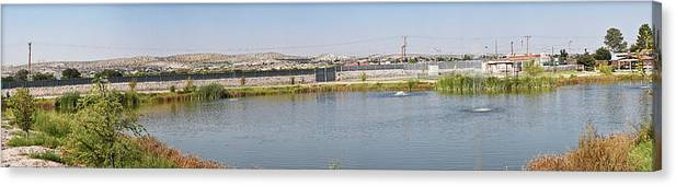 Pond Canvas Print featuring the photograph Panorama Of A Pond by Allen Sheffield