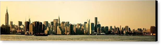 Panorama Canvas Print featuring the photograph New York City Skyline Panorama by Vivienne Gucwa