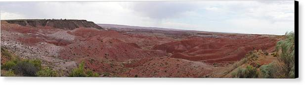 Desert Arizona Landscape Red Rocks Orange And Green Painted Desert Eastern Arizona Panorama Canvas Print featuring the photograph Painted Desert 7 by Florine Duffield
