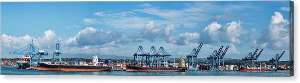 Photography Canvas Print featuring the photograph Colon Container Terminal, Panama Canal by Panoramic Images
