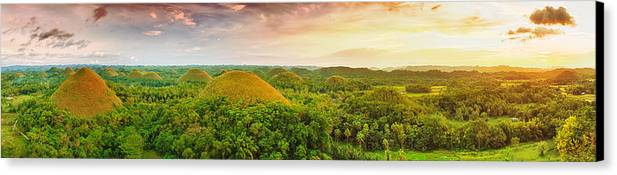 Panorama Canvas Print featuring the photograph Chocolate Hills by MotHaiBaPhoto Prints