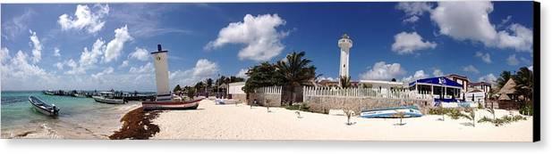 Photo Stream Canvas Print featuring the digital art Puerto Morelos by D Scott Fern