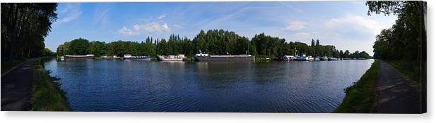 Lehto Canvas Print featuring the photograph By A Canal Panorama by Jouko Lehto