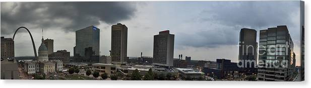 St. Louis Canvas Print featuring the photograph St Louis Downtown Panorama by Tim Mulina