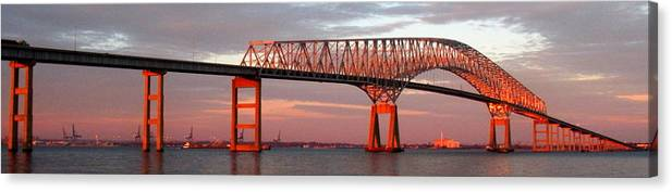 Francis Scott Key Canvas Print featuring the photograph Francis Scott Key Bridge At Sunset Baltimore Maryland by Wayne Higgs