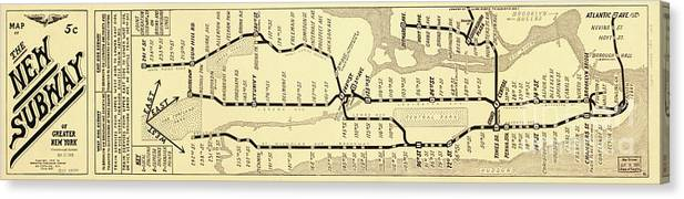 New York Subway Map To Print.New York City Subway Map Vintage Canvas Print