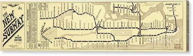 Vintage New York City Subway Map.New York City Subway Map Vintage Canvas Print