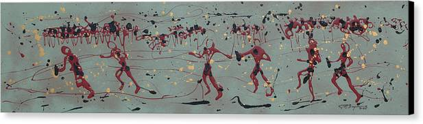 Abstract Art Canvas Print featuring the painting The Relay Race by J R Seymour