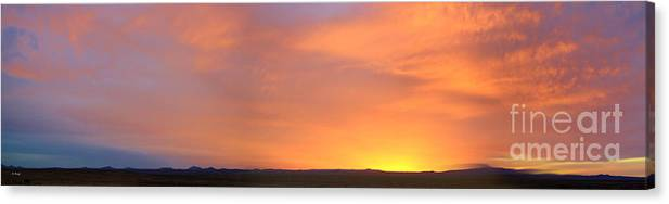 Roena King Canvas Print featuring the photograph Panorama Fire In The Sky 2 Sunset by Roena King