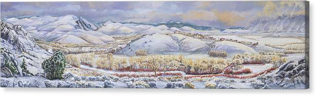 Landscape Canvas Print featuring the painting Winter Panorama From The River Mural by Dawn Senior-Trask
