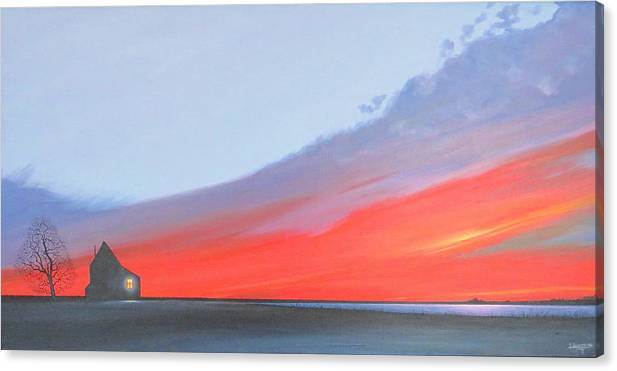 Sunset Canvas Print featuring the painting Solitude by Hunter Jay