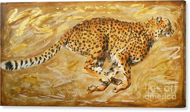 Cheetah Canvas Print featuring the painting Sprinting by Leigh Banks