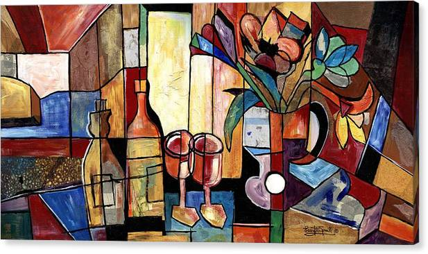 Everett Spruill Canvas Print featuring the painting Still Life with Wine and Flowers for two take 2 by Everett Spruill