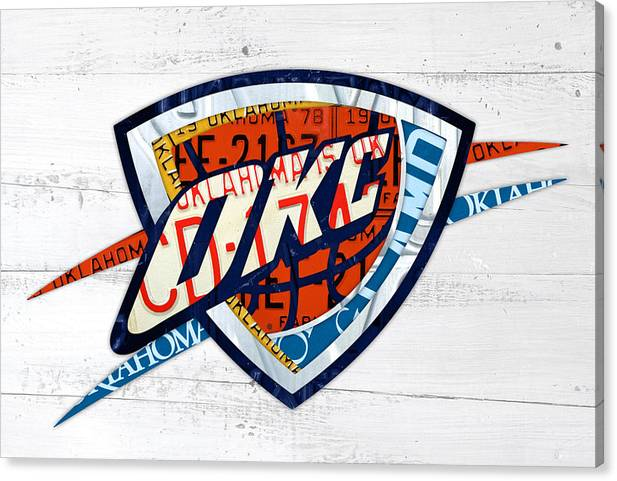 OKC Thunder Basketball Team Retro Logo Vintage Recycled Oklahoma License Plate Art by Design Turnpike