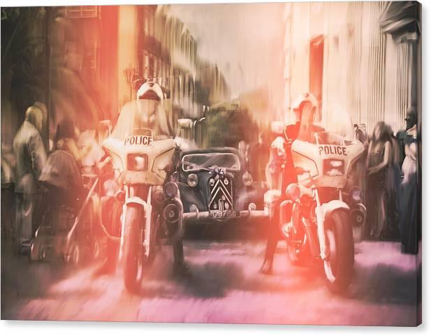 Police Canvas Print featuring the photograph Police escort by Stephen Ignacio
