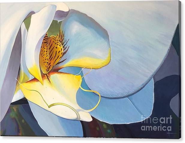 Orchid Canvas Print featuring the painting All You Need is Now by Hunter Jay
