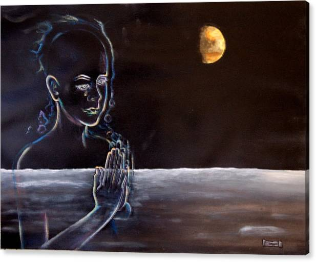 Moon Canvas Print featuring the painting Human Spirit Moonscape by Susan Moore
