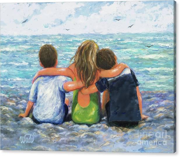 Three Beach Children Hugging Brunette Boys by Vickie Wade