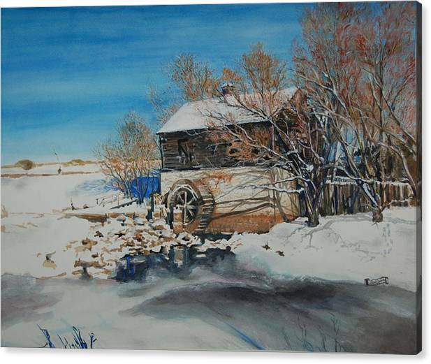 Mill Canvas Print featuring the painting Grants Old Mill by Susan Moore
