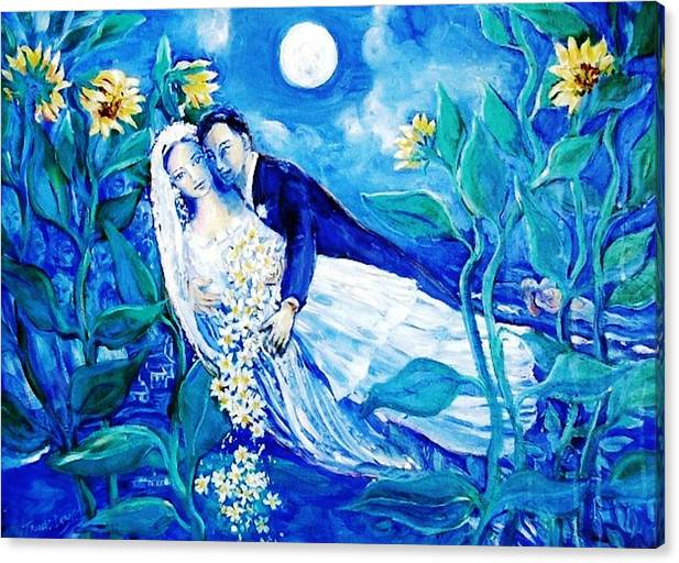 Lovers and Sunflowers  after Marc Chagall  by Trudi Doyle