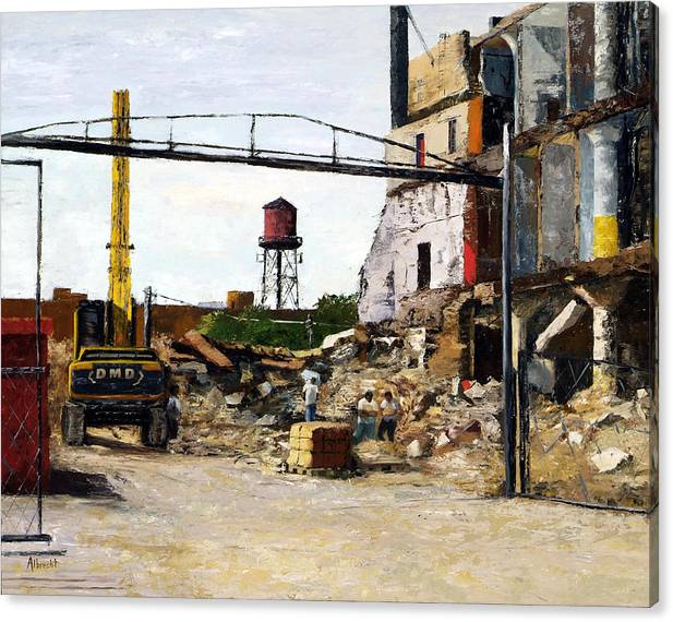 Cityscape Series Canvas Print featuring the painting Demolition 4 by Nancy Albrecht