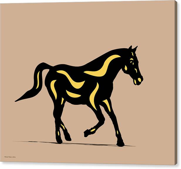 Horse Canvas Print featuring the digital art Heinrich - Pop Art Horse - Black, Primrose Yellow, Hazelnut by Manuel Sueess