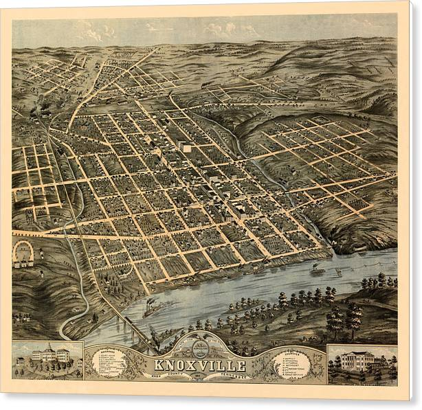 Map Of Knoxville 1871 by Andrew Fare