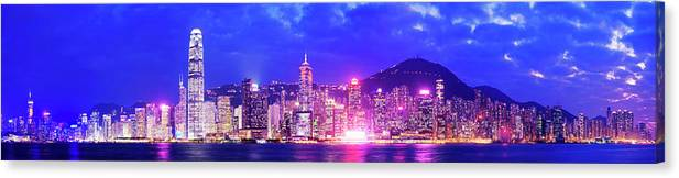 Downtown District Canvas Print featuring the photograph Hong Kong City Skyline In China by Deejpilot