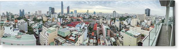 Ho Chi Minh City Canvas Print featuring the photograph Panorama Of Ho Chi Minh City by By Thomas Gasienica