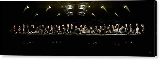 Mafia Canvas Print featuring the digital art The Last Sit Down by Laurence Adamson