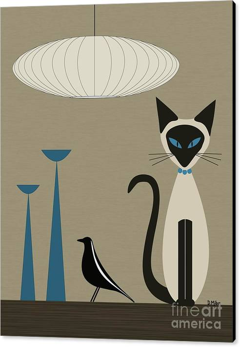 Siamese Cat with Eames House Bird by Donna Mibus