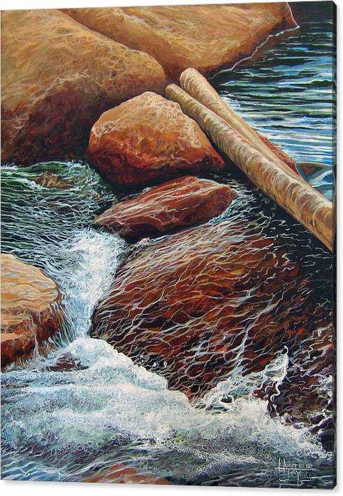 Stream Canvas Print featuring the painting The Crossing by Hunter Jay