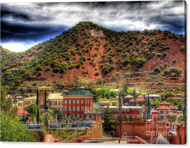Limited Time Promotion: B Hill Over Historic Bisbee Stretched Canvas Print