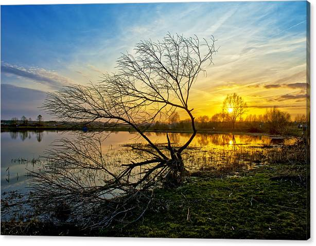 Limited Time Promotion: Beautiful Sunset Reflecting In A Lake Stretched Canvas Print