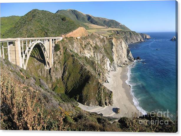 Limited Time Promotion: Bixby Bridge Stretched Canvas Print by James B Toy