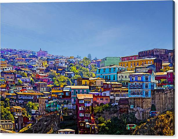 Limited Time Promotion: Cerro Artilleria Valparaiso Chile Stretched Canvas Print by Kurt Van Wagner