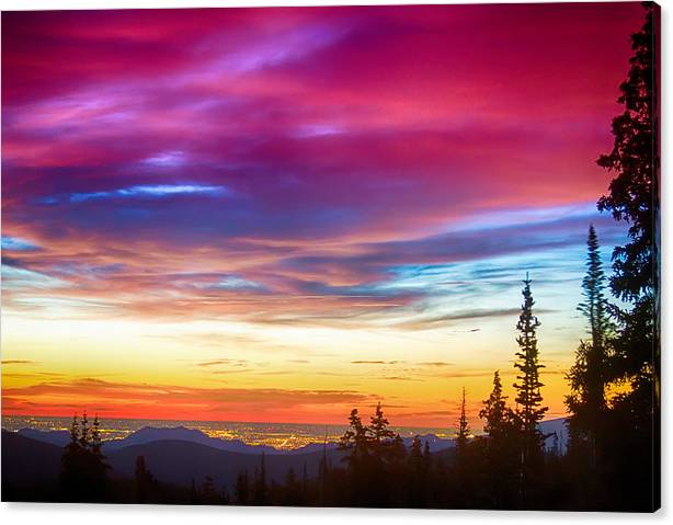 Limited Time Promotion: City Lights Sunrise View From Rollins Pass Stretched Canvas Print